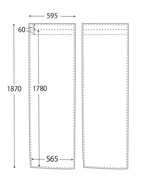 のれんの設計図(mmミリメートル)